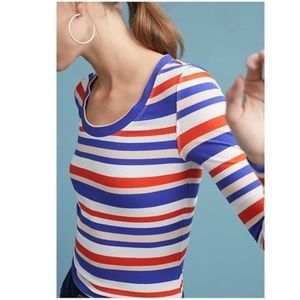 Anthropologie Postmark Ribbed Striped LS Tee Small